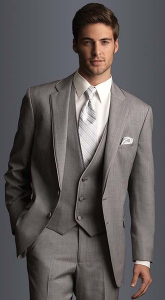 2019 Beyler gri üç parça suits Erkek Balo Smokin Pantolon Ceket Pantolon Suits Tasarım Slim Fit Terzi Blazer (ceket + Pantolon + Yelek)