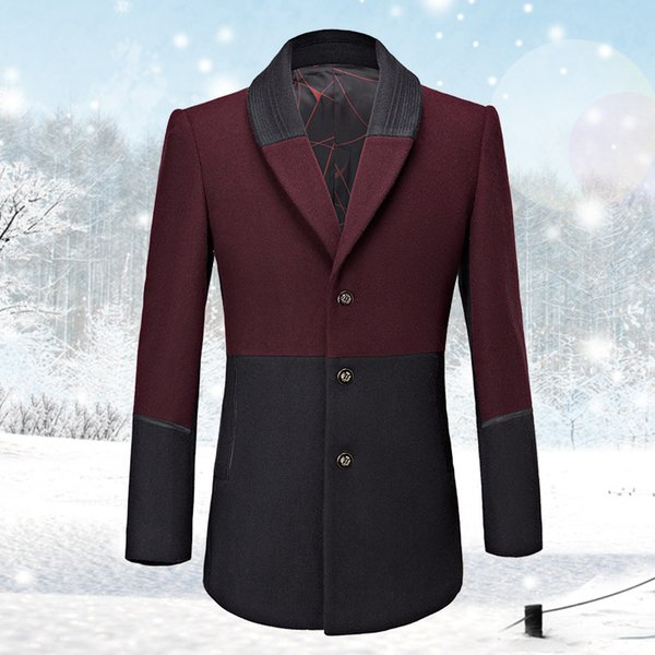 2019 Autunno Inverno Lana Trench Uomini Uomini misto lana Pea Coat lungo cappotto for Business Casual Veste Homme Black Red