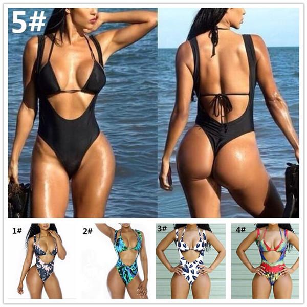Yüksek Kesim Tanga Monokini Mayolar Kadınlar Için Trikinis Tek Parça baskı Mayo Thongs Mayolar M427