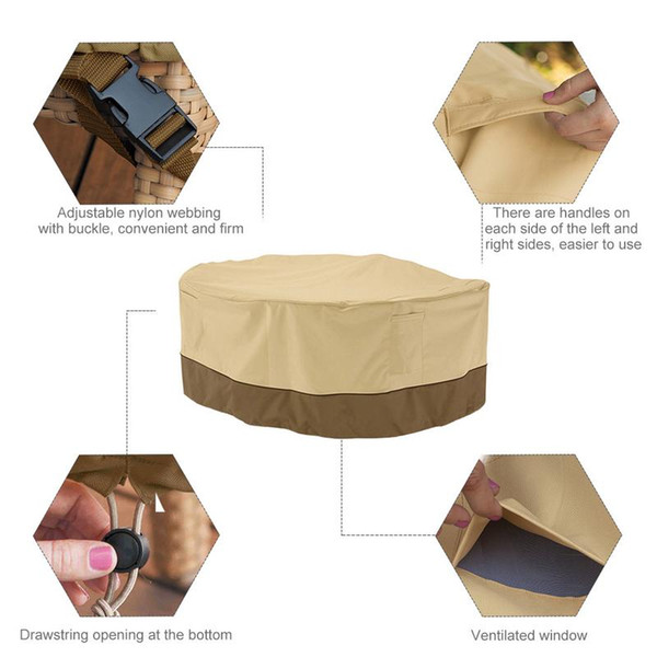 Table Chair Set Cover Durable Waterproof Outdoor Furniture Cover Water Repellent Convenient And Firm Adjustable Keep Dry