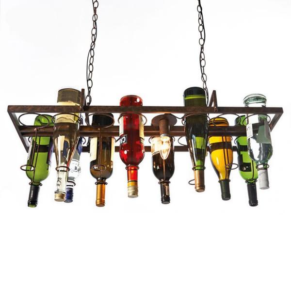 Loft retro Hanging Wine Bottle led ceiling iron Pendant Lamps E27 LED pendant lights for living room bar restaurant Kitchen home