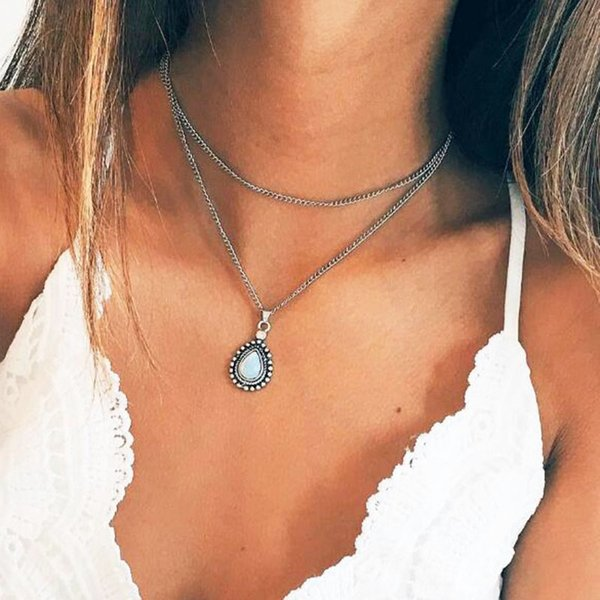 Turkey Style Double Layer Water Drop Gemstone Pendant Necklaces for Women Ethnic Vintage Silver Geometric Clavicle Necklace Jewelry YN13