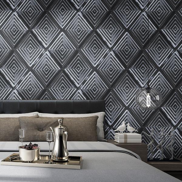 Schwarze Tapete des Gitters 3d Hauptwohnzimmer-Dekor-gelbes Schlafzimmer-Esszimmer-Hintergrund-Tapete weich eingewickeltes Tapeten