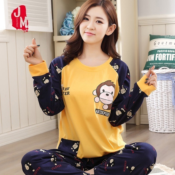Women Plus Size M-5XL Pajama Set Cotton Autumn Winter Long Sleeve Cartoon Monkey Animal Sleepwear Pyjamas Nightwear Home Clothes Y19042803