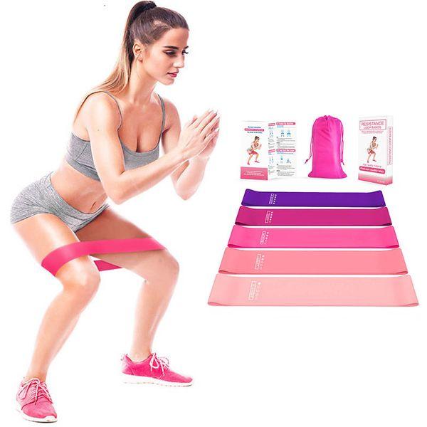 top popular Yoga Resistance Bands Set Gradation Color Workout Stretch Resistance Loop Natural Latex Pilates Sports Elastic Bands 5 Piece Suits 050408 2021