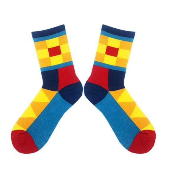 New cartoon design colorful British style happy socks sox summer sports fitness gym sock cotton geometric pattern stocking