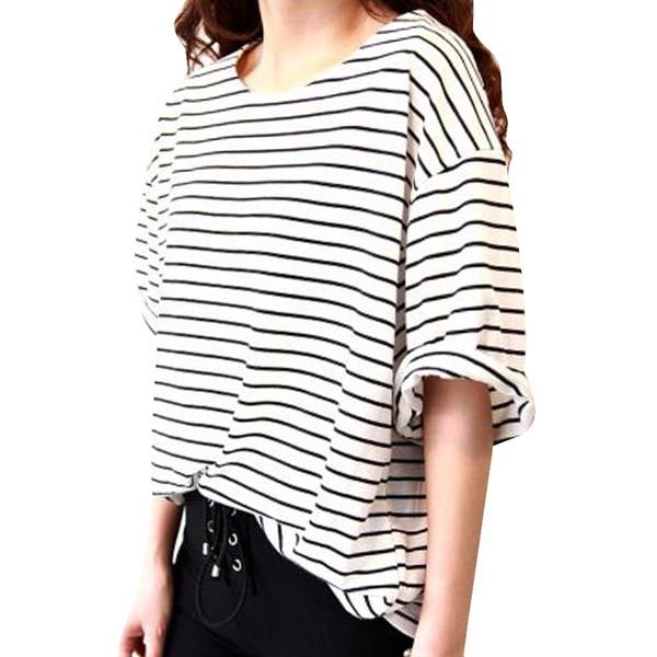New Summer Women T shirt Loose Short Sleeve Tops Female Striped T-shirt Woman White Black Tops Tee Fashionable Women Clothing