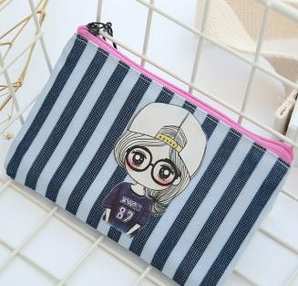 best selling Hot sell-2018 candy color striped cosmetic bags coin purses wallets holders