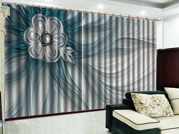 Großhandel Benutzerdefinierte Vorhang Blau Fantasy Blumen 3D Schöne  Vorhänge Wohnzimmer Schlafzimmer Schöne Praktische Schatten Vorhänge Von ...