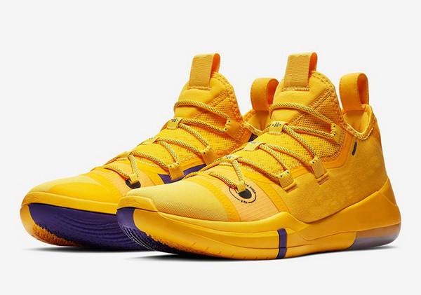 Новый горячий Кобе объявление Лейкер золото фиолетовый обувь для продажи лучший Кобе Брайант баскетбольная обувь магазин с размером коробки US7-US12