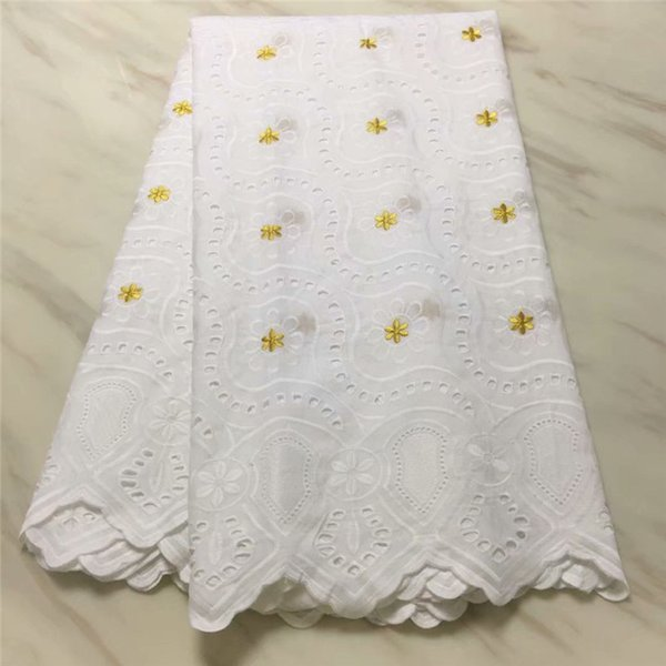 white African Swiss Voile Lace with holes Emboridery cotton lace fabric swiss lace for women dress 7yards