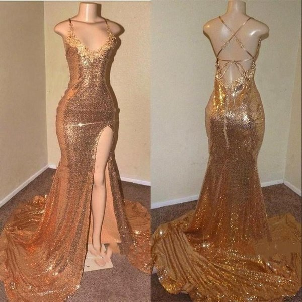 Sequined Prom Dresses Sexy Back Criss Cross Straps Cheap Party Dress Long Spaghetti Straps Side Split Gold Evening Dress Cheap