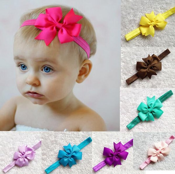Wholesale -Baby Head Bands Baby Kids Infant Bow Children Hair Accessories 17 colors for choose