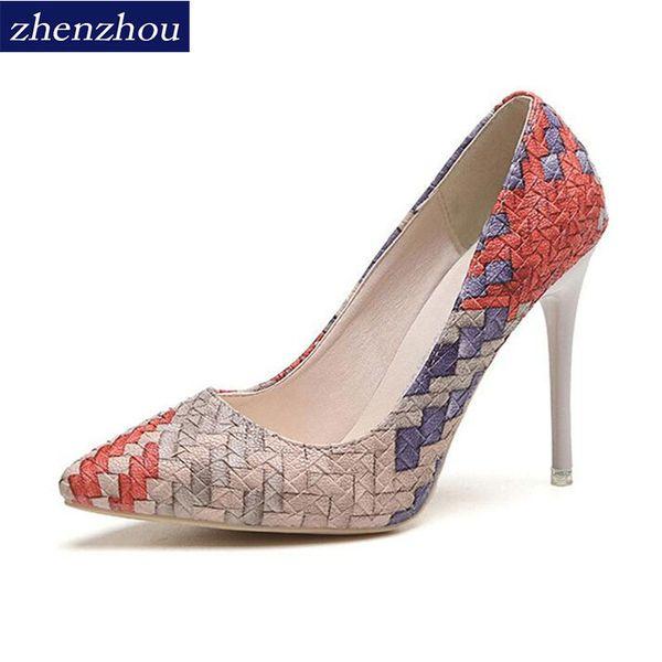 Designer Dress Shoes New 2019 Pumps summer Woman autumn national wind retro plaid heels pointed fine with single women Asakuchi career