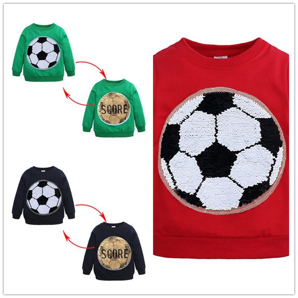 Kinder Mode bicolor Pailletten Muster Hoody Kinder Jungen Fußball ans Ergebnis Buchstaben Pailletten Muster Pullover T Shirt B11