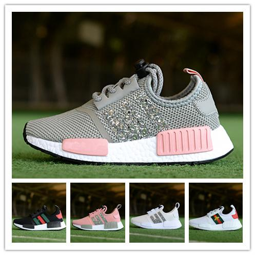 (with boxes)Children's boys girls NMDs R1 Baby Kids toddler Shoes red blue bee Crystal sequins trainers city sock sneakers Running Shoes
