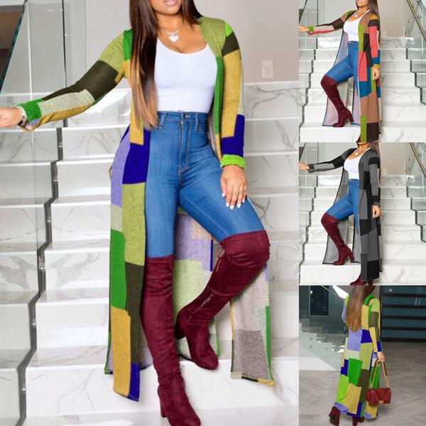 Vente chaude nouvelle mode pour femmes Manches longues pour femmes Plaid Cardigan Trench Veste coupe-vent Pardessus