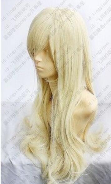 Бесплатная доставка + ++ свет блондинка длинные волнистые вьющиеся косплей парик 80 см
