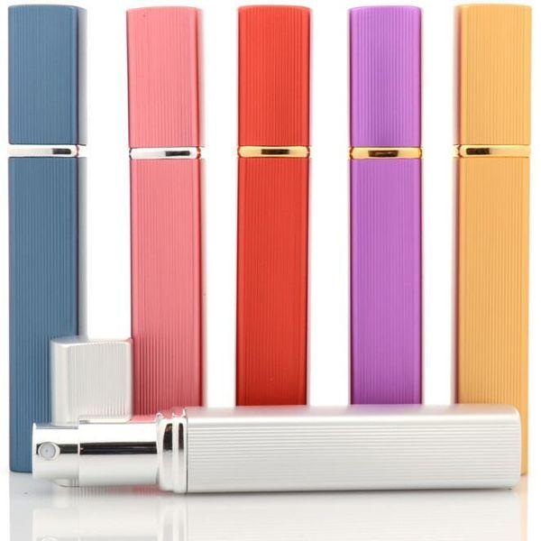 6 Colors 12ml Aluminum Spray Bottles Perfume Atomizer Cosmetic Containers Travel Refillable Mini Atomiser Spray Bath Toys CCA11040 1000pcs