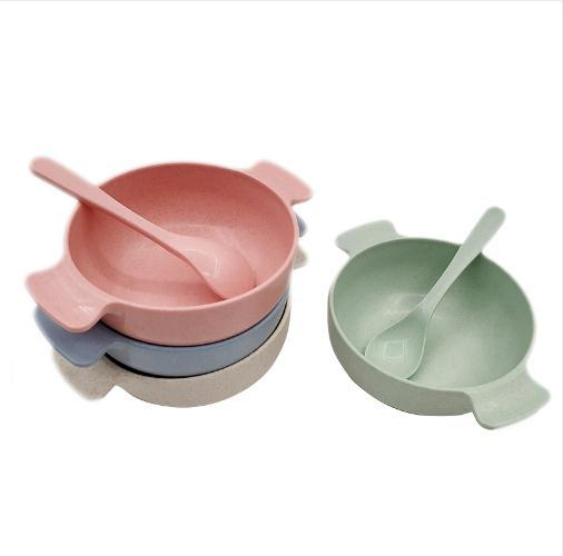 2pcs/set baby feeding food tableware eco-friendly toddle kids dishes baby child eating dinnerware anti-training bowl+spoon