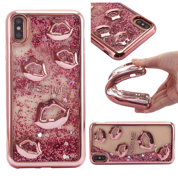 Liquid Quicksand Case Soft TPU Case For iPhone XS Max XR 7 Plus 3D Lips Bling Case For Samsung Galaxy S8 S9 J5 J7 Prime Opp Bag