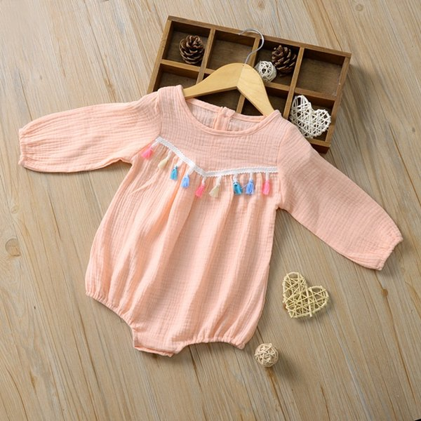 Baby Girls Colored Fringe Rompers Fall 2019 Kids Boutique Clothing Infant Toddler Girls Plain Long Sleeves Triangle Onesie