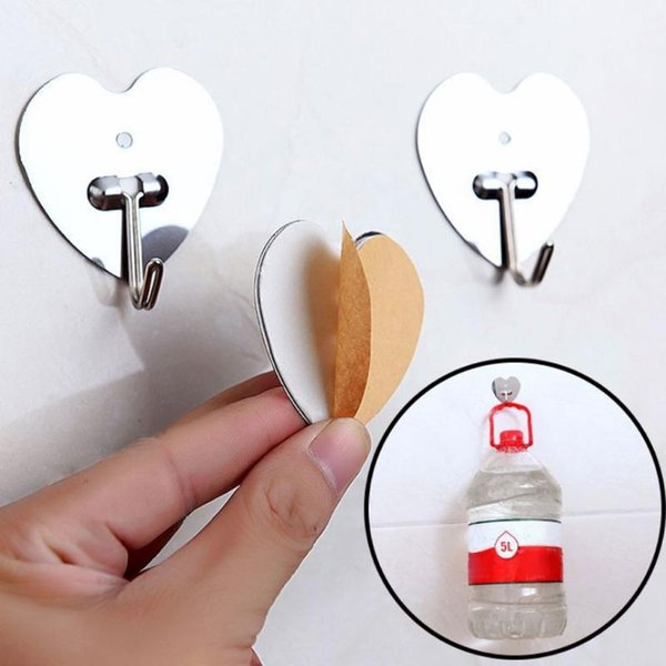 Stainless Steel Hook No Trace Adhesive Holder Wall Door Hanging Towel Bag Key Decorative Wall Shelf Stainless Steel Hook No Trace Adhesive