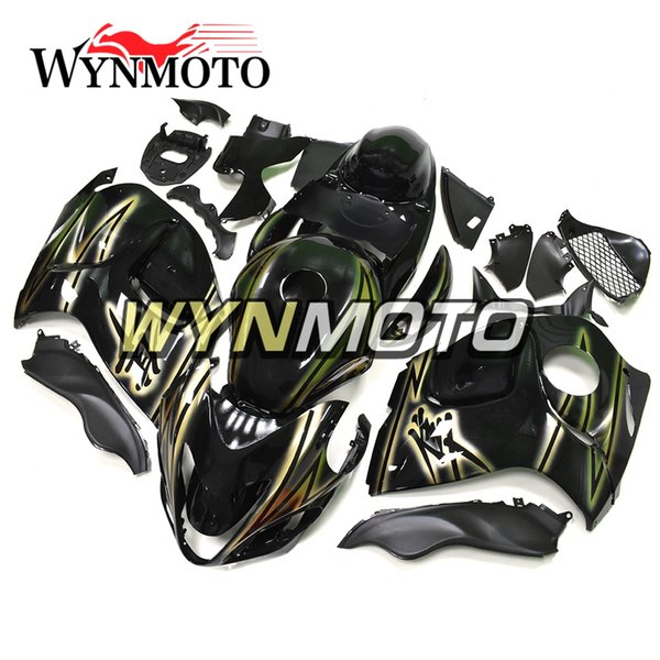 Motorcycle Fairings Hayabusa For Suzuki GSXR1300 2008 2009 2010 2011 2012 2013 2014 2015 2016 Stylish Gold Strips Black Cover Hulls Full Set