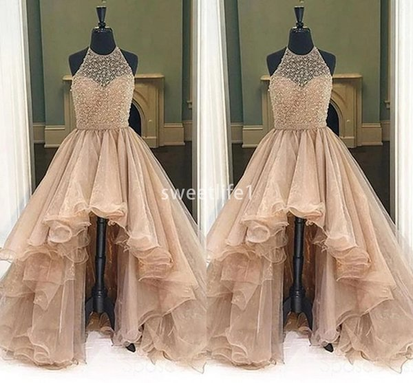 2019 Sparkly Beaded Halter Neck Prom Dresses Backless A Line Hi Low Ruffles Tiered Skirts Formal Evening Occasion Party Dresses