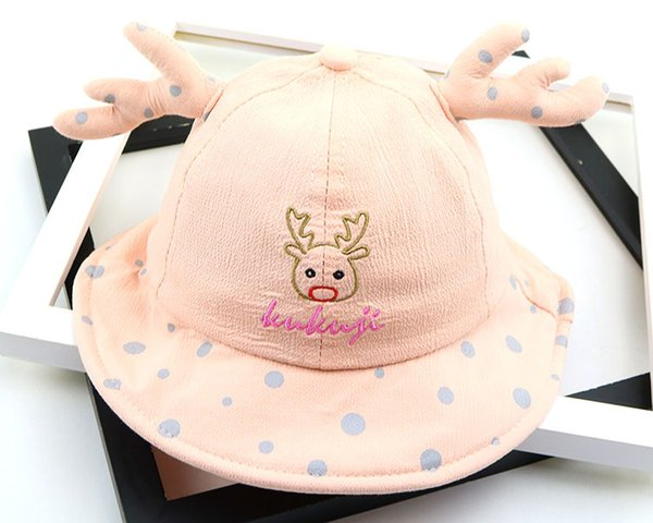 Baby boy girl hat Cartoon cat basin Pure color cute summer fisherman hat fresh and lovely beanies newborn photography props