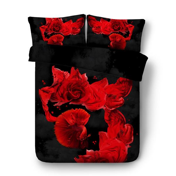 Copriletto di rose blu Set Copripiumino floreale di pesce Set di biancheria da letto rosso 3pc 2 Cuscini Shams fiori Copripiumino grigio nero Copricapo Ragazzi Ragazze