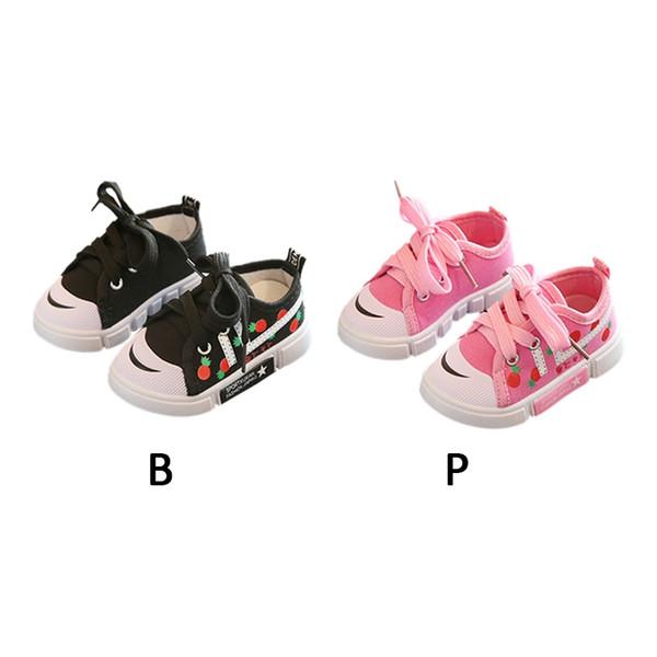 Zapatos deportivos Zapatillas de deporte Bebé Niños Niñas Primeros caminantes Bebé Niño pequeño Suela suave Transpirable Fresa Estampado Zapato de bebé antideslizante