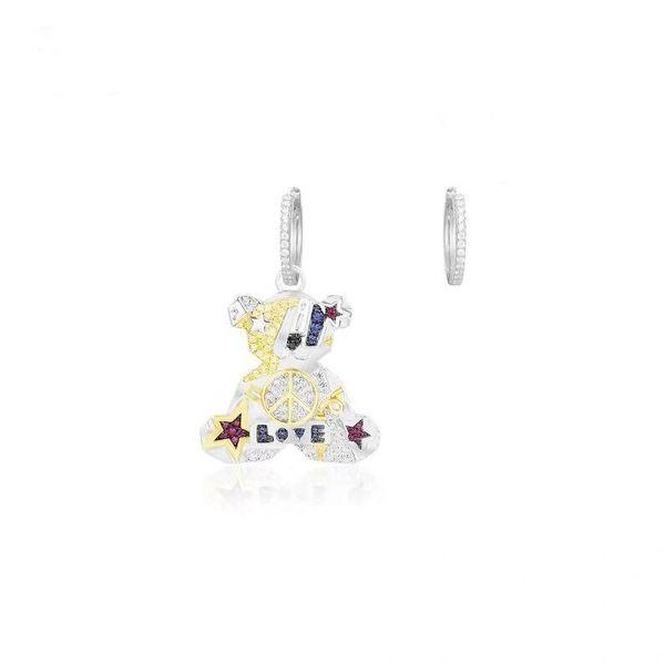APM Monaco 925 Нежные серьги Мишка Женщина Асимметричный дизайн Чувствительная Eardrop Модные серьги