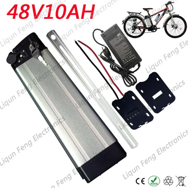 48V 10AH Silver Fish Aluminum shell Electric Bicycle E-bike Kick Scooter 750W Rechargeable Lithium ion Battery BMS With Charger.