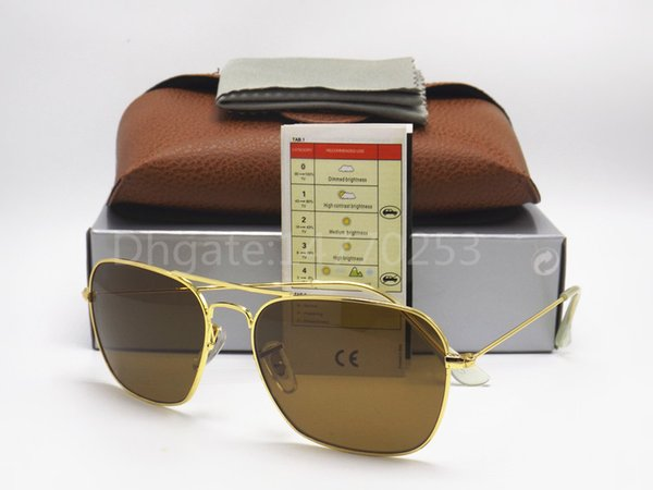 Wholesale-Fashion Rectangle Sunglasses For Mens Womens Eyewear Sun Glasses Black Metal 58mm 3136 Glass Lenses Brown Cases And Box