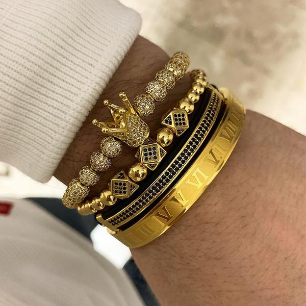 3pcs/set 4pcs/set Men Bracelet Jewelry Crown Charms Macrame Beads Bracelets Braiding Man Luxury Jewelry For Women Bracelet Gift Y19051002