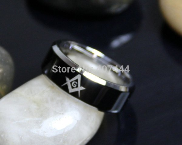Free Shipping Usa Uk Canada Russia Brazil Hot Sales 8mm Black Top Silver Beveled Men's Masonic Freemason Stainless Steel Rings J190715