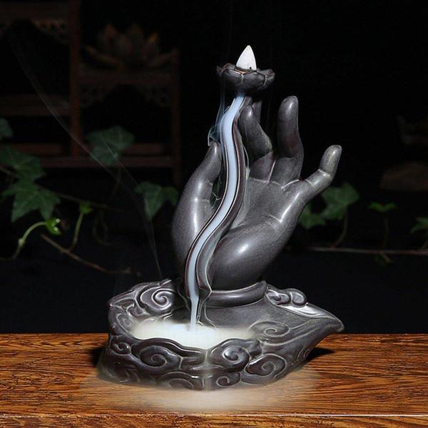 Buddha Hand lotus Incense Burner Smoke Backflow Sandalwood Stove Tower Censer Down Stream Back