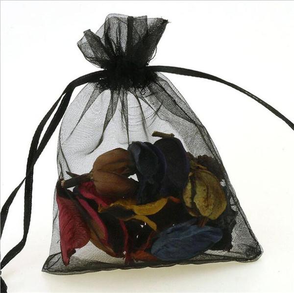15x20cm Black Bolsas Регало Saquinho De органзы Embalagem Bolsas De органзы Сако De Тули Pochette Тюль Bonbon сумки 200pcs / серия