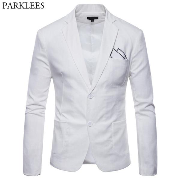 Blanc Coton Lin Léger Costume Veste Hommes 2019 Nouveau Slim Fit Casual Blazer Vestes Hommes Partie De Mariage Marié Blazer Hombre