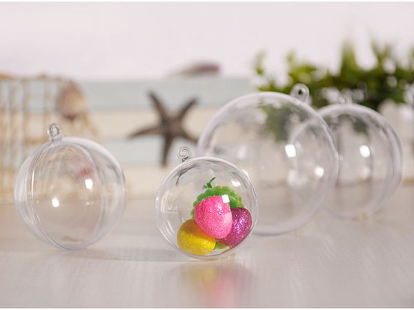 150pcs 5cm Transparent Open Plastic Christmas Tress Decorations Ball Clear Bauble Ornament Gift Present Box Decoration