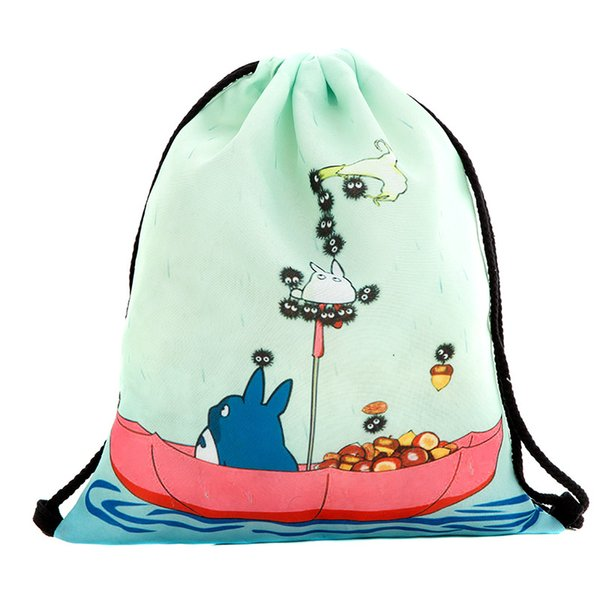 39x30cm Харадзюку симпатичные мешки drawstring ткани холст Каваи мультфильм Тоторо хранения сумки рюкзак 3D печатных женская сумка подарок