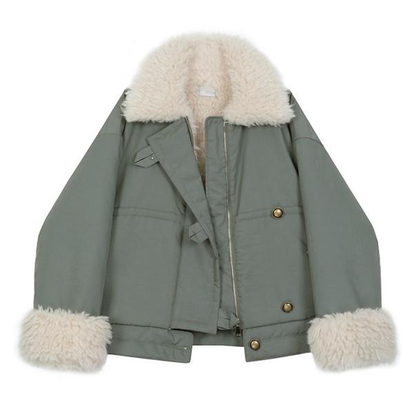 Spring Winter Woman Stylish Solid Color Long Sleeve Turn-down Collar Warm Zipper Loose Imitate Lambwool Coat