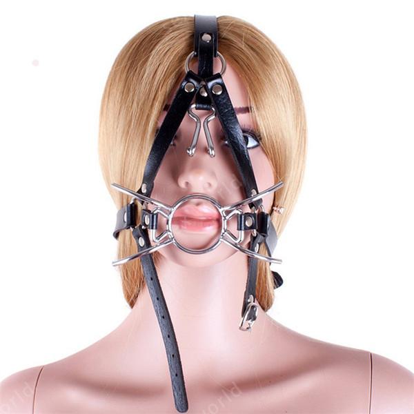 Ganchos nasais vinculados à boca máscara em forma de aranha boca plugue metal em forma de O máscara SM cabeça cheia Harness brinquedo sexual