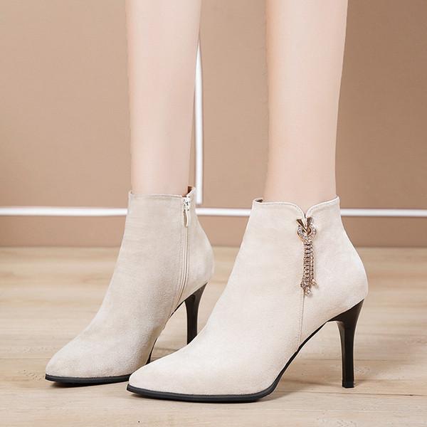 Pérola de Inverno Sapatos Mulheres 2019 Sexy Ladies Moda Sapato de bico fino Zipper Ankle Boots para mulheres informais salto fino Shoes botas mujer