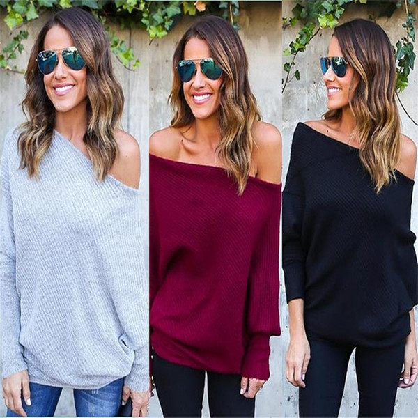 Fashion- Women Sweaters With Batwing Slash Neck Autumn Casual Knitted Pullovers Sweater Jumper Loose High Quality Woman Solid Clothes