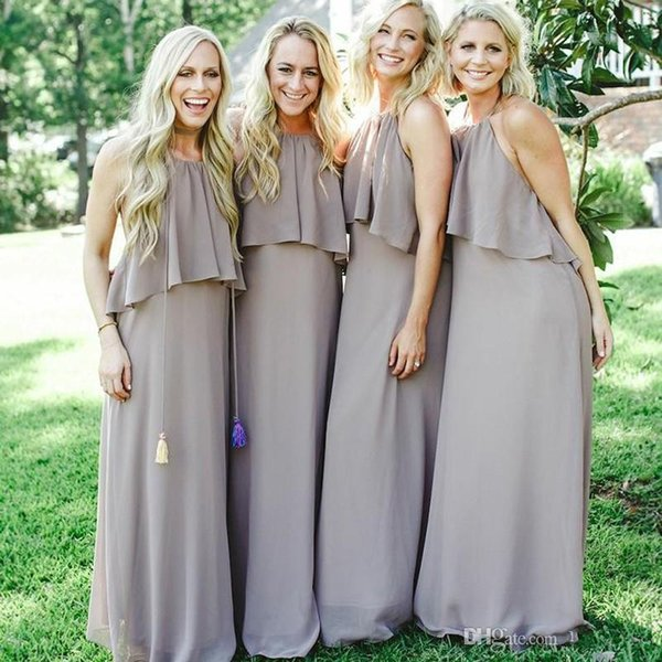 Boho Sexy Backless Long Bridesmaid Dresses For Country Wedding Halter Floor Length Top Cape Prom Gowns Cheap Plus Size Wedding Guest Dress