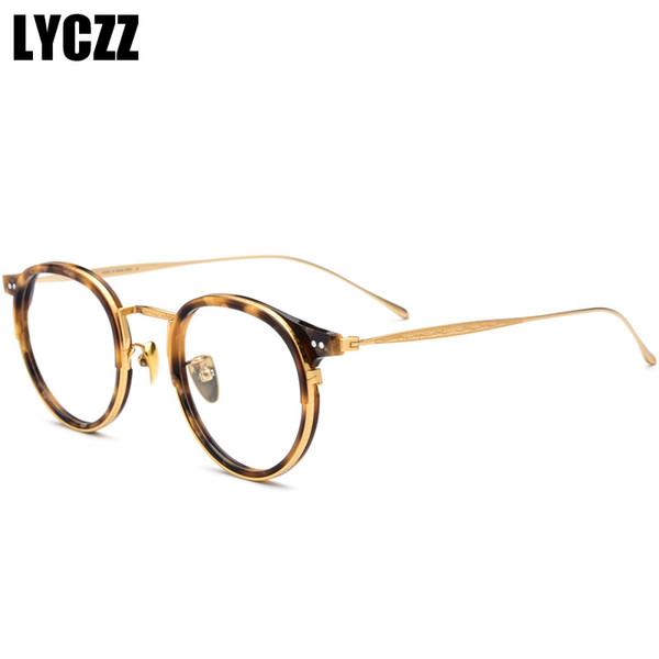 LYCZZ Retro Women Round Leopard Glasses Frame vintage spectacle frames Men Pure Titanium Optical Clear Lens Eyewear eyeglasses