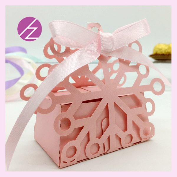 50pcs/lot Unique Snowflake Flower Wedding Favor Holders Boxes Party Design With Lace Flamboyance Ribbon Celebrate Grand Events Gifts Boxes