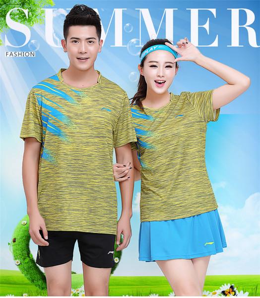 LI NING 7305 Schnelltrocknender, atmungsaktiver Badmintonanzug Kurzarm-T-Shirt mit Rundhalsausschnitt Laufen Basketballbekleidung MenWomenKids gelb